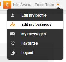 Business Profile - Dropdown menu
