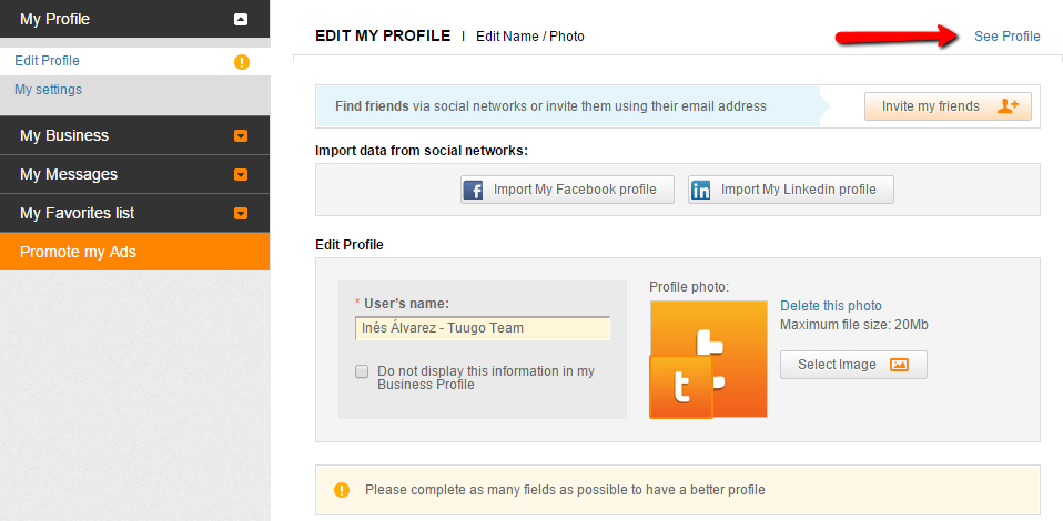 Social profile - See profile